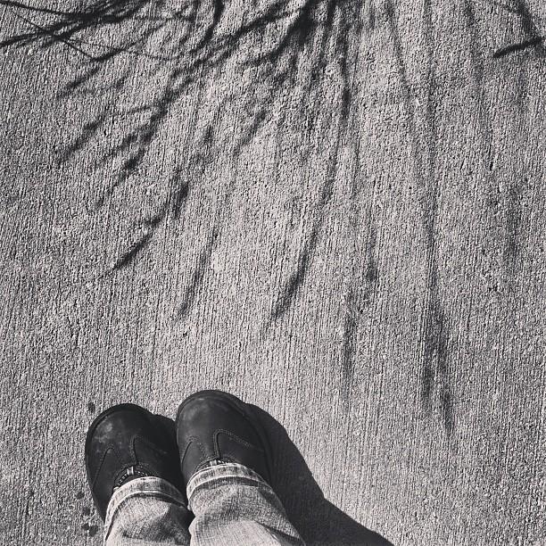 ombre, pied, soulier, marche, randonnée, été